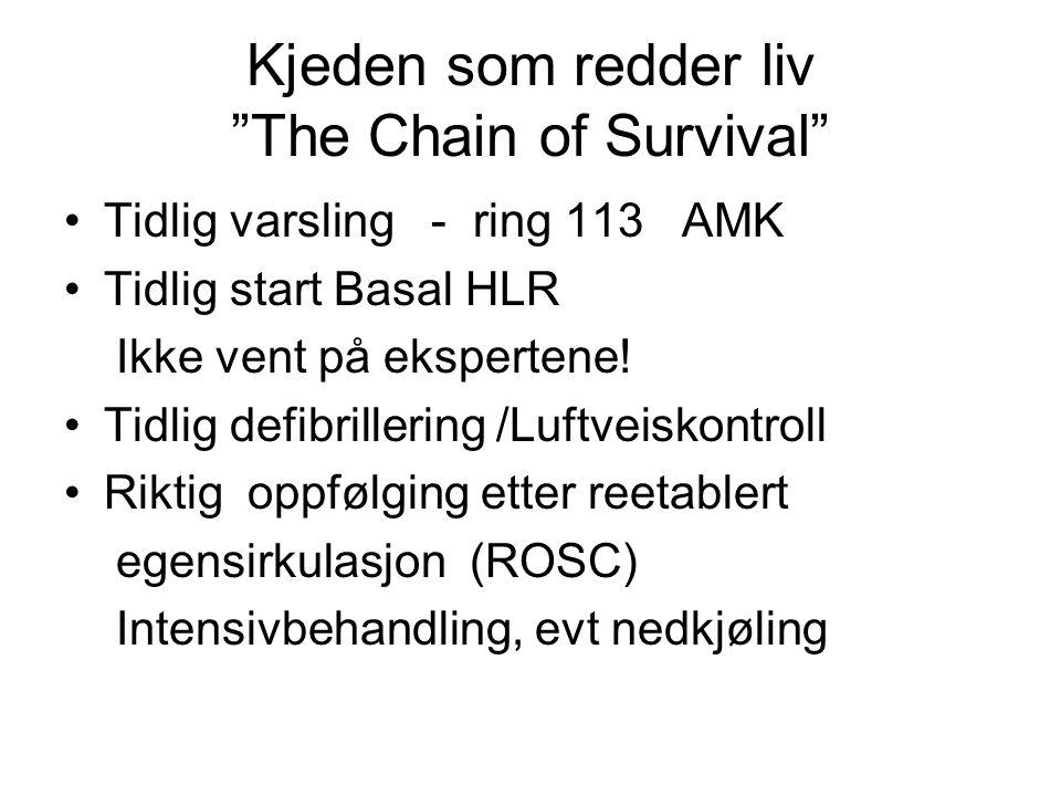 """Kjeden som redder liv """"The Chain of Survival"""" Tidlig varsling - ring 113 AMK Tidlig start Basal HLR Ikke vent på ekspertene! Tidlig defibrillering /Lu"""