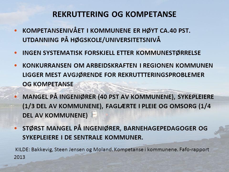 REKRUTTERING OG KOMPETANSE KOMPETANSENIVÅET I KOMMUNENE ER HØYT CA.40 PST.