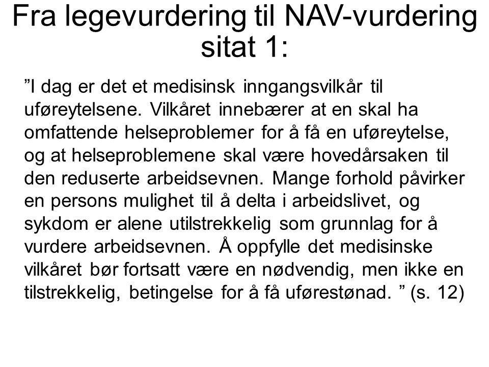 Fra legevurdering til NAV-vurdering sitat 1: I dag er det et medisinsk inngangsvilkår til uføreytelsene.