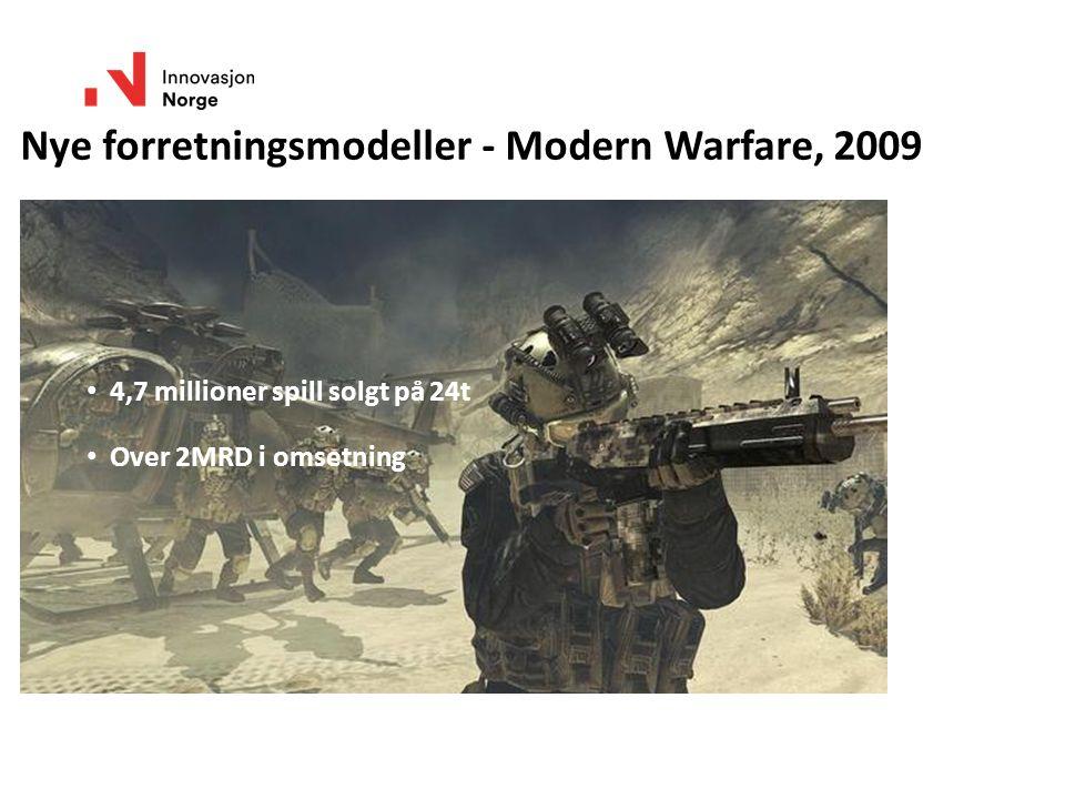 Nye forretningsmodeller - Modern Warfare, 2009 4,7 millioner spill solgt på 24t Over 2MRD i omsetning