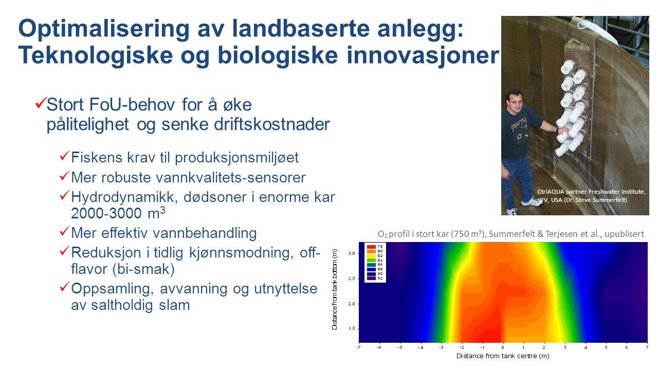Optimalisering av landbaserte anlegg: Teknologiske og biologiske innovasjoner Stort FoU-behov for å øke pålitelighet og senke driftskostnader Fiskens krav til produksjonsmiljøet Mer robuste vannkvalitets-sensorer Hydrodynamikk, dødsoner i enorme kar 2000-3000 m 3 Mer effektiv vannbehandling Reduksjon i tidlig kjønnsmodning, off- flavor (bi-smak) Oppsamling, avvanning og utnyttelse av saltholdig slam CtrlAQUA partner Freshwater Institute, WV, USA (Dr.