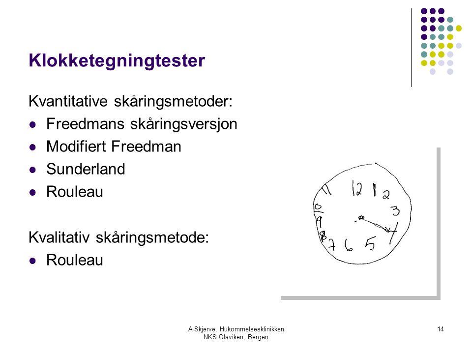 A Skjerve, Hukommelsesklinikken NKS Olaviken, Bergen 14 Klokketegningtester Kvantitative skåringsmetoder: Freedmans skåringsversjon Modifiert Freedman
