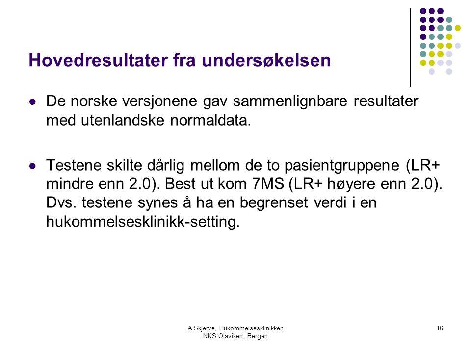 A Skjerve, Hukommelsesklinikken NKS Olaviken, Bergen 16 Hovedresultater fra undersøkelsen De norske versjonene gav sammenlignbare resultater med utenlandske normaldata.