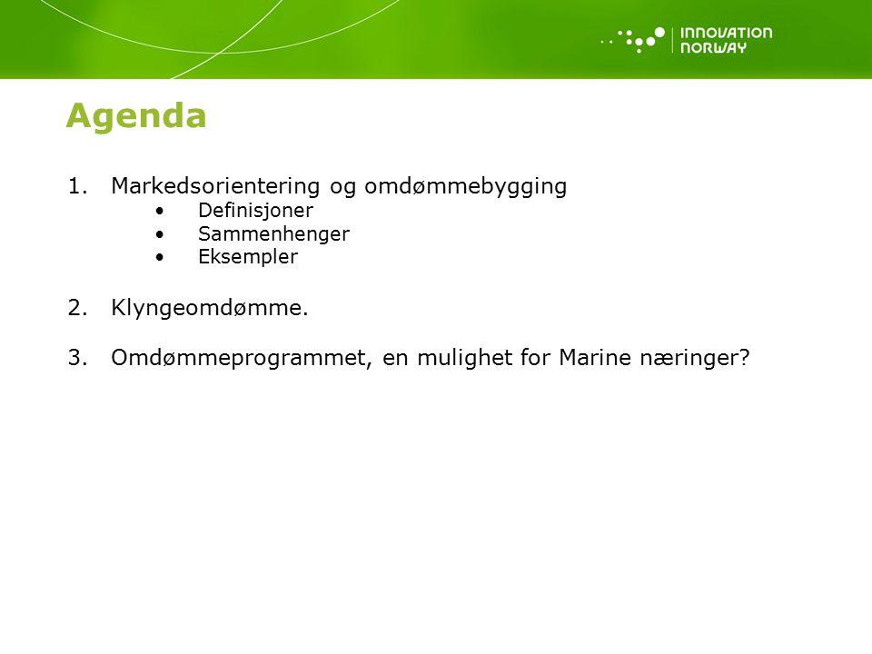 Agenda 1.Markedsorientering og omdømmebygging Definisjoner Sammenhenger Eksempler 2.Klyngeomdømme.