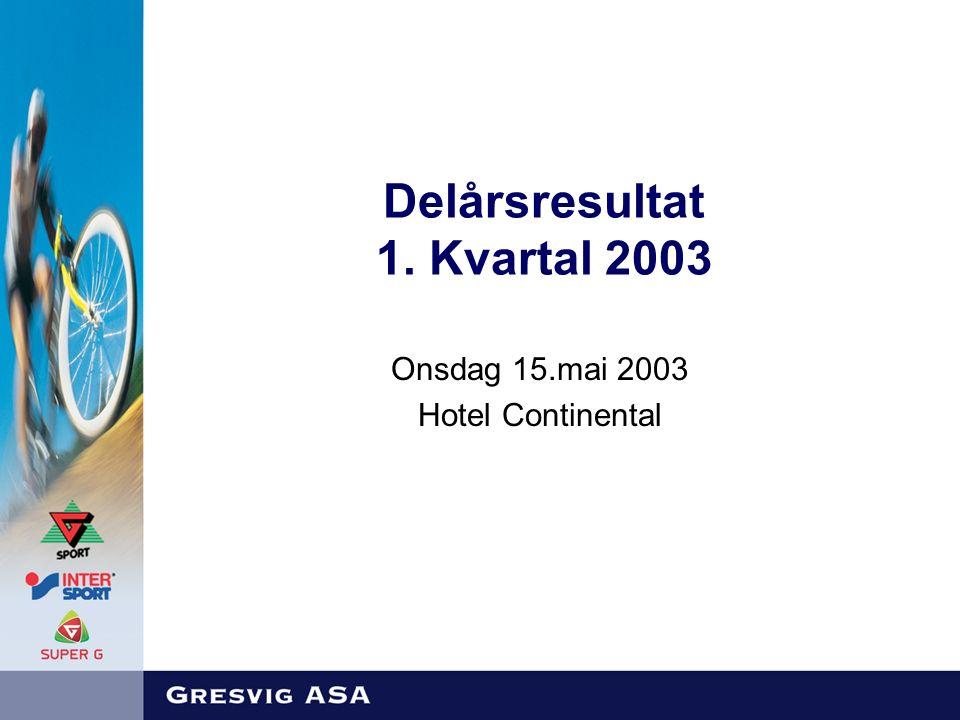 Delårsresultat 1. Kvartal 2003 Onsdag 15.mai 2003 Hotel Continental