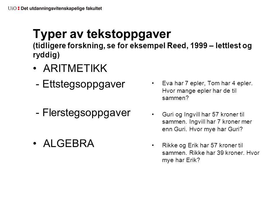 Typer av tekstoppgaver (tidligere forskning, se for eksempel Reed, 1999 – lettlest og ryddig) ARITMETIKK - Ettstegsoppgaver - Flerstegsoppgaver ALGEBR