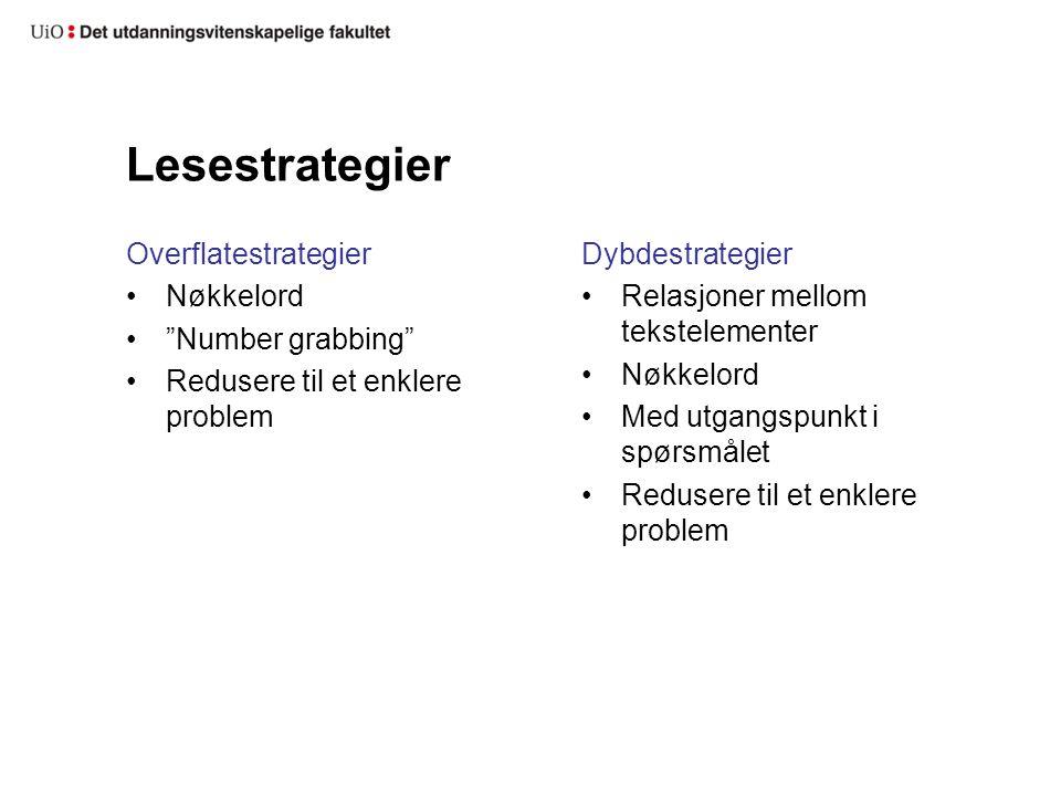 """Lesestrategier Overflatestrategier Nøkkelord """"Number grabbing"""" Redusere til et enklere problem Dybdestrategier Relasjoner mellom tekstelementer Nøkkel"""