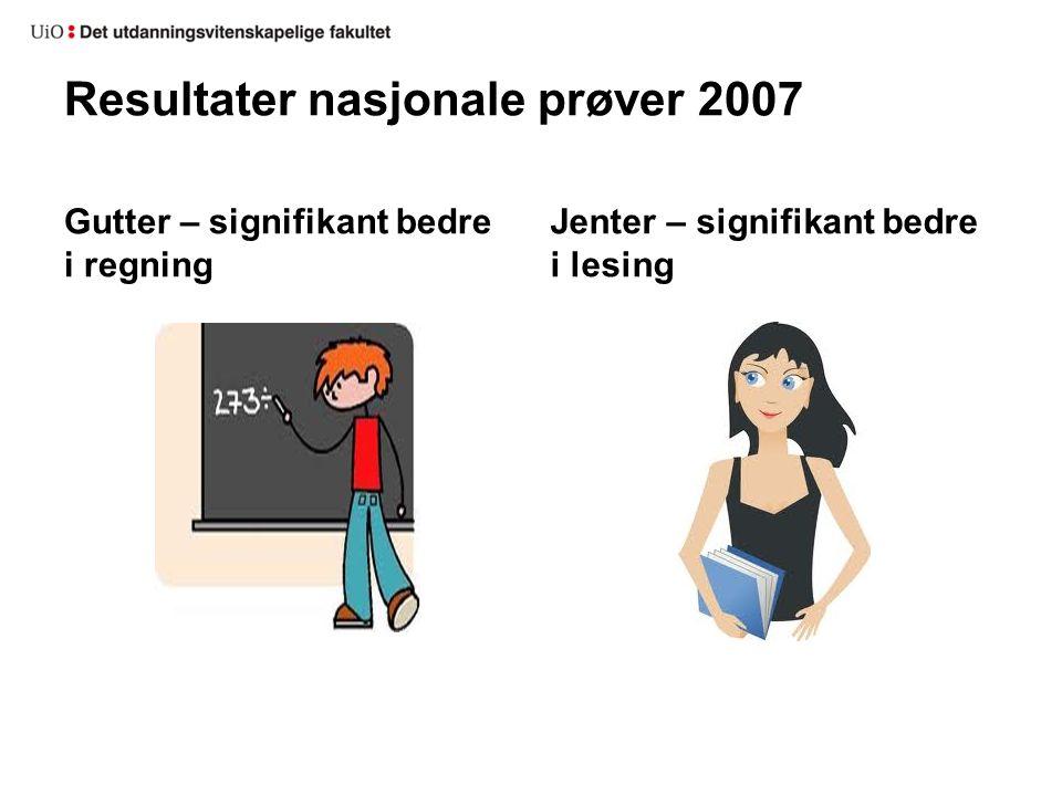 Resultater nasjonale prøver 2007 Gutter – signifikant bedre i regning Jenter – signifikant bedre i lesing