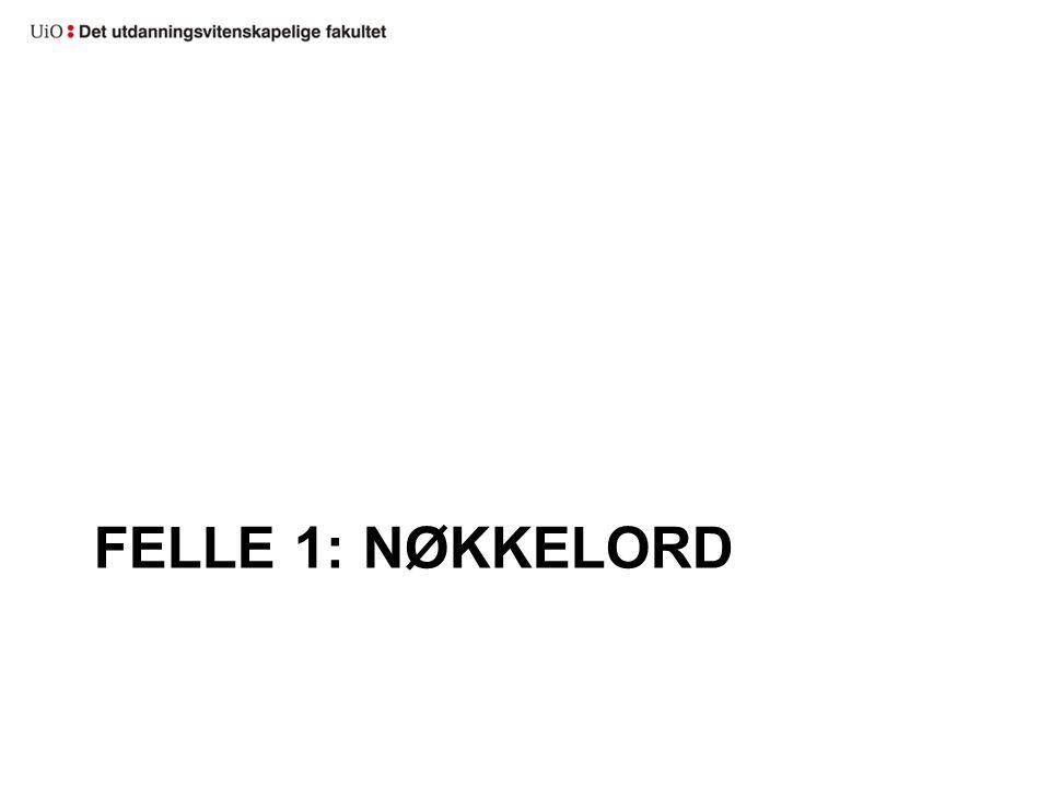FELLE 1: NØKKELORD
