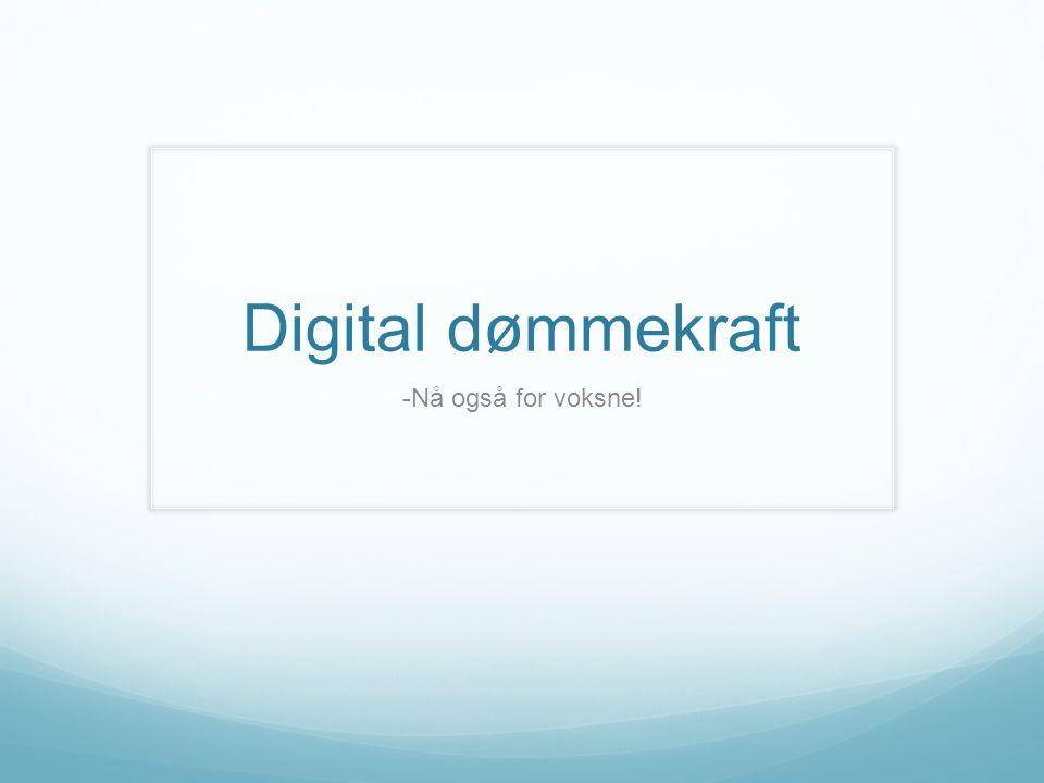 Digital dømmekraft -Nå også for voksne!