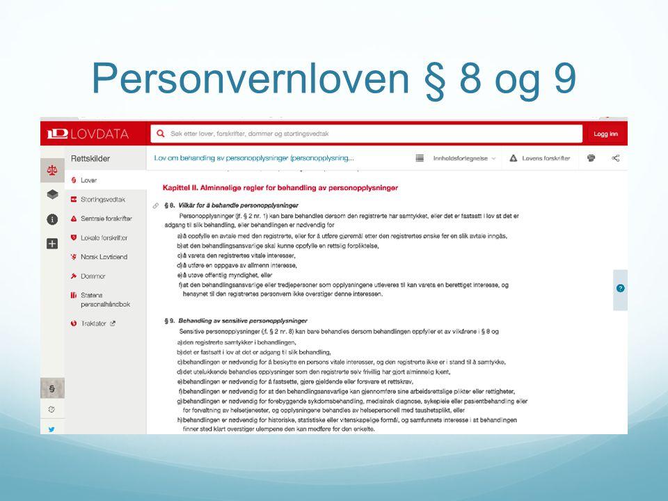 Personvernloven § 8 og 9