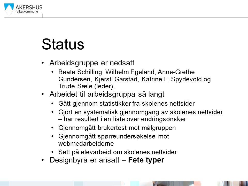 Status Arbeidsgruppe er nedsatt Beate Schilling, Wilhelm Egeland, Anne-Grethe Gundersen, Kjersti Garstad, Katrine F.