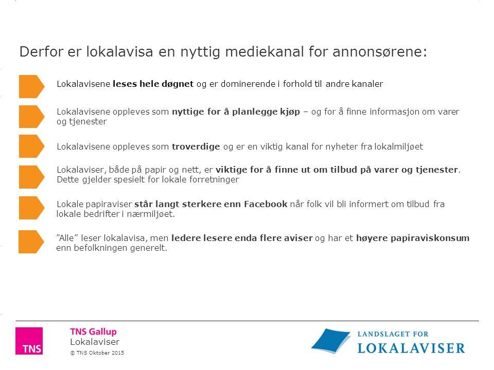 Lokalaviser © TNS Oktober 2015 Lokalavisa leses hele døgnet og er dominerende i forhold til andre kanaler.