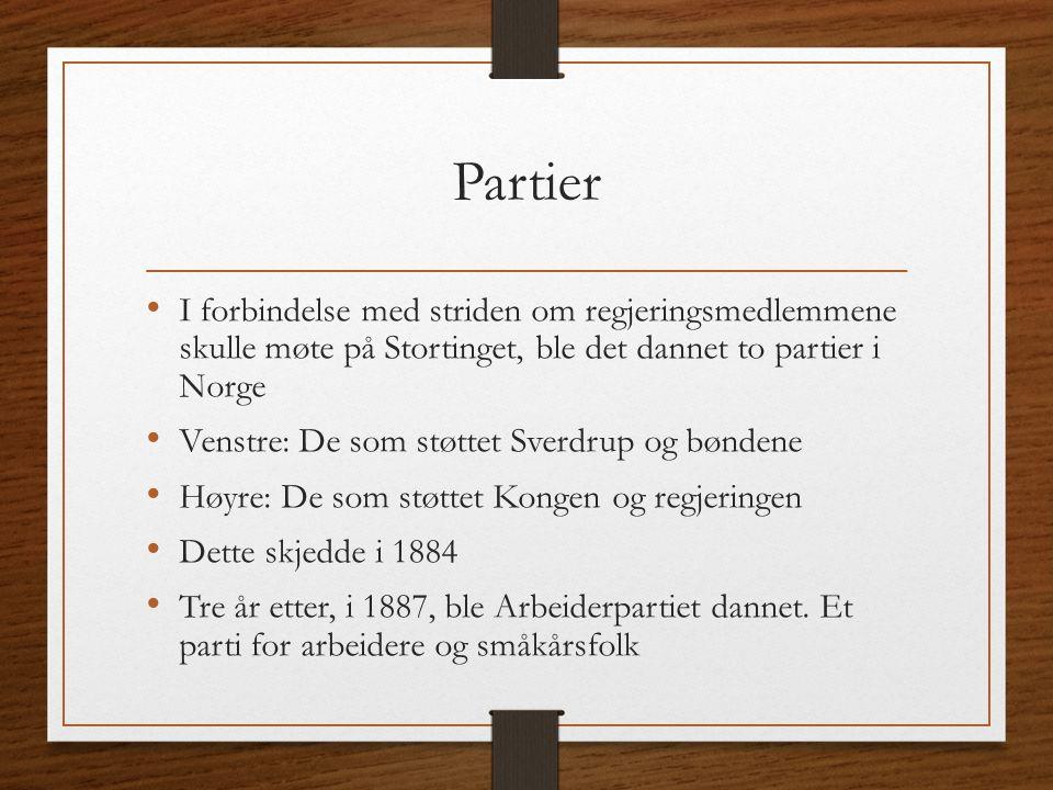 Partier I forbindelse med striden om regjeringsmedlemmene skulle møte på Stortinget, ble det dannet to partier i Norge Venstre: De som støttet Sverdru