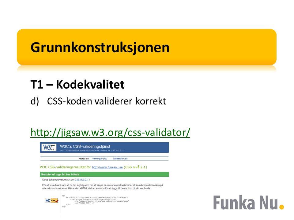 Grunnkonstruksjonen T1 – Kodekvalitet d)CSS-koden validerer korrekt http://jigsaw.w3.org/css-validator/