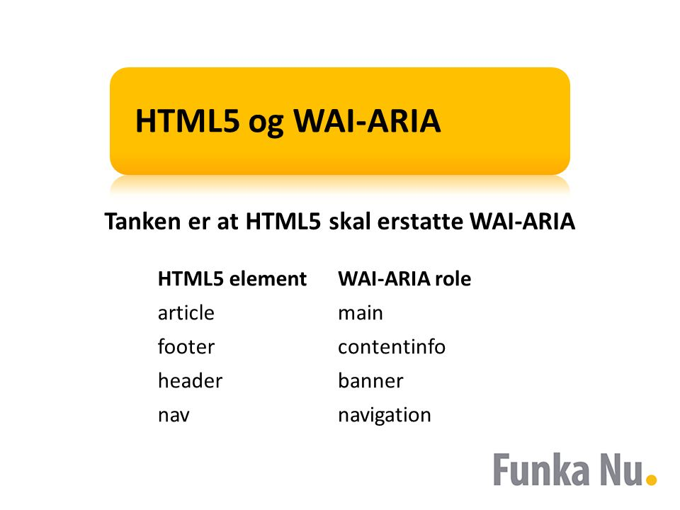 HTML5 og WAI-ARIA HTML5 elementWAI-ARIA role articlemain footercontentinfo headerbanner navnavigation Tanken er at HTML5 skal erstatte WAI-ARIA