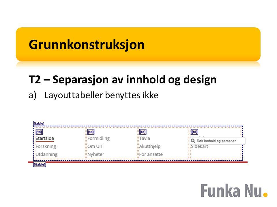 Grunnkonstruksjon T2 – Separasjon av innhold og design a)Layouttabeller benyttes ikke