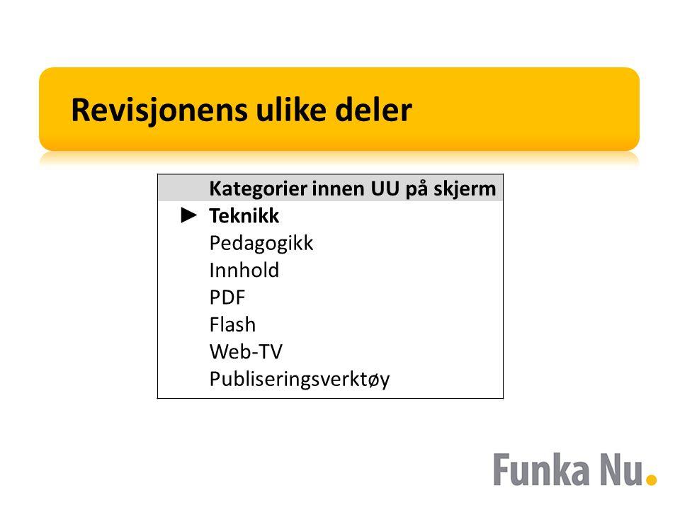 Kategorier innen UU på skjerm ► Teknikk Pedagogikk Innhold PDF Flash Web-TV Publiseringsverktøy Revisjonens ulike deler