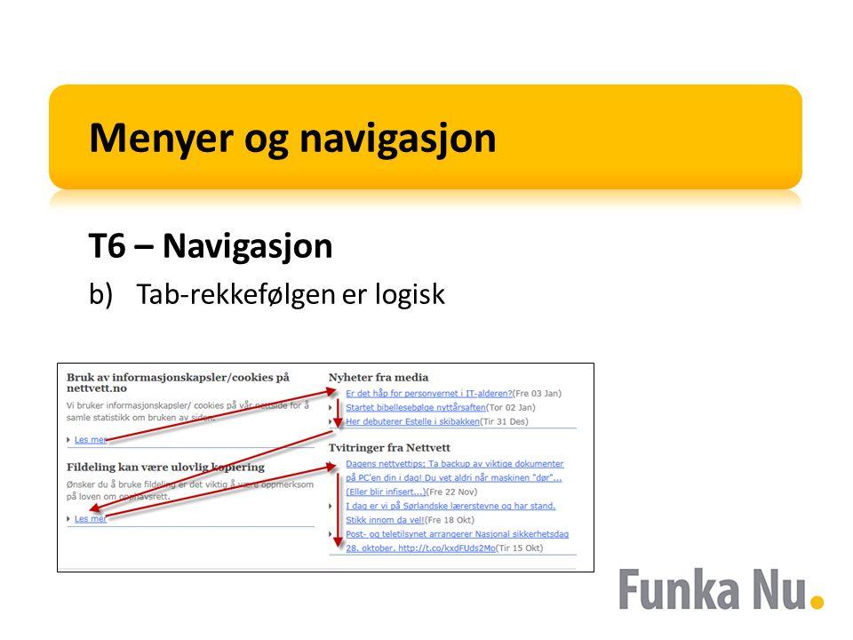Menyer og navigasjon T6 – Navigasjon b)Tab-rekkefølgen er logisk
