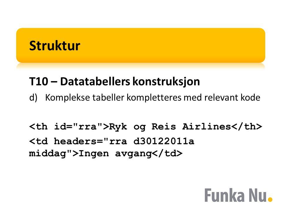 Struktur T10 – Datatabellers konstruksjon d)Komplekse tabeller kompletteres med relevant kode Ryk og Reis Airlines Ingen avgang