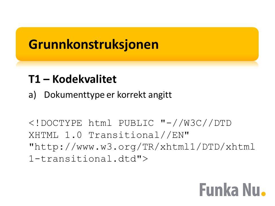 Grunnkonstruksjonen T1 – Kodekvalitet a)Dokumenttype er korrekt angitt