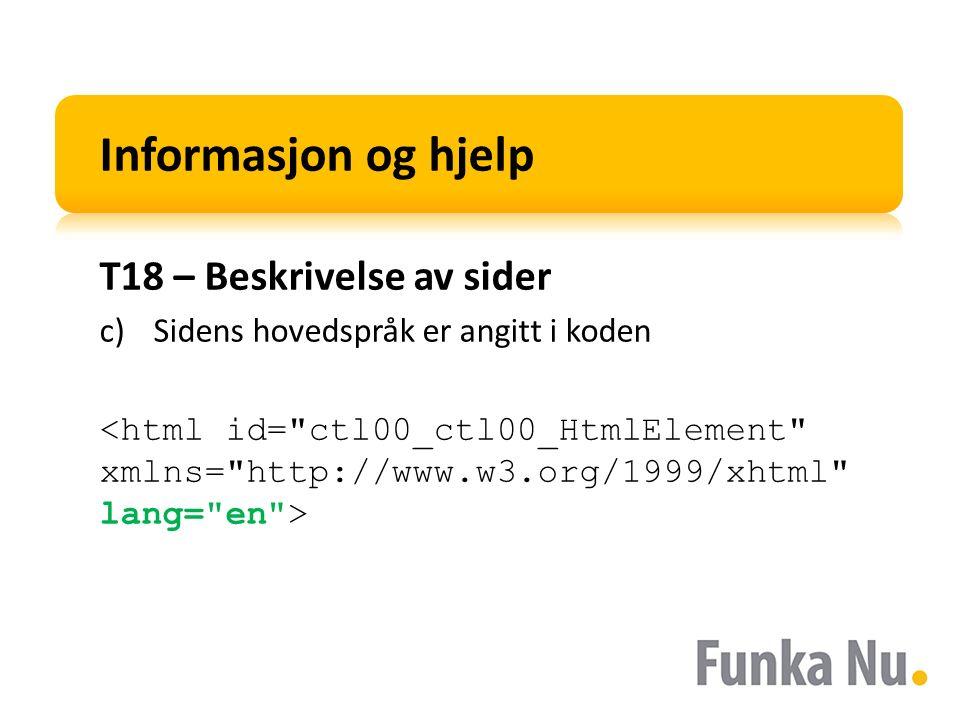 Informasjon og hjelp T18 – Beskrivelse av sider c)Sidens hovedspråk er angitt i koden