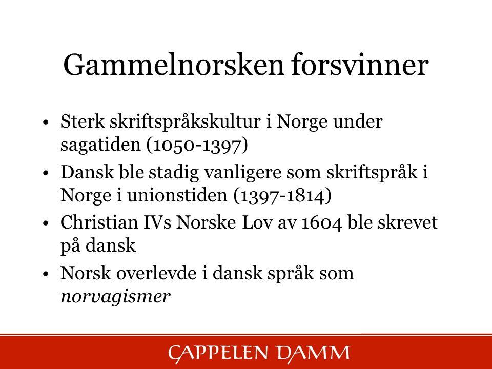 Gammelnorsken forsvinner Sterk skriftspråkskultur i Norge under sagatiden (1050-1397) Dansk ble stadig vanligere som skriftspråk i Norge i unionstiden