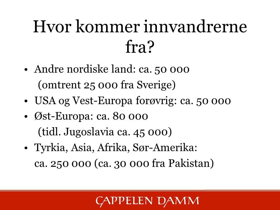 Hvor kommer innvandrerne fra? Andre nordiske land: ca. 50 000 (omtrent 25 000 fra Sverige) USA og Vest-Europa forøvrig: ca. 50 000 Øst-Europa: ca. 80