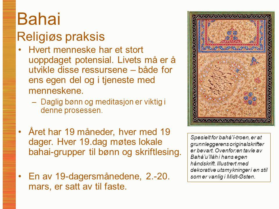 Bahai Religiøs praksis Hvert menneske har et stort uoppdaget potensial.
