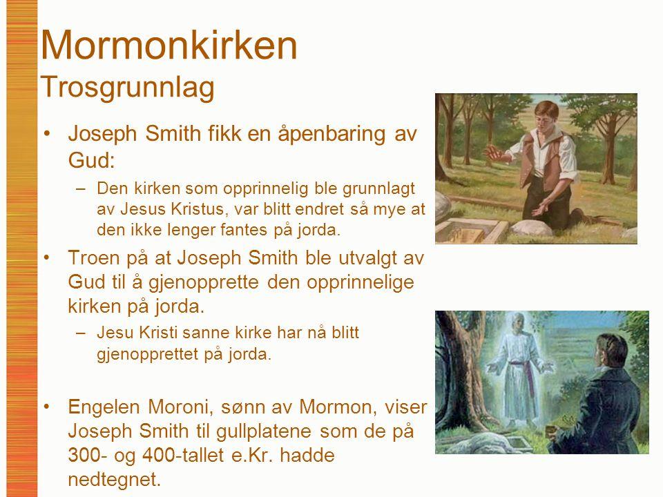 Mormonkirken Trosgrunnlag Joseph Smith fikk en åpenbaring av Gud: –Den kirken som opprinnelig ble grunnlagt av Jesus Kristus, var blitt endret så mye