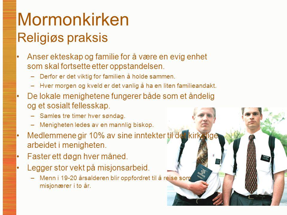 Mormonkirken Religiøs praksis Anser ekteskap og familie for å være en evig enhet som skal fortsette etter oppstandelsen. –Derfor er det viktig for fam