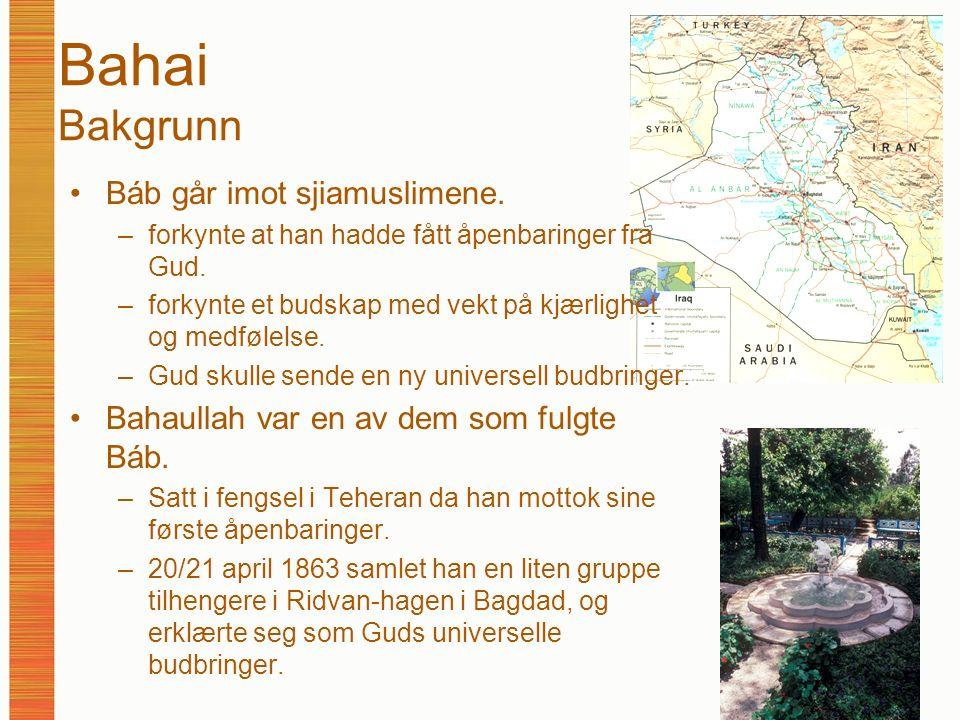 Bahai Bakgrunn Báb går imot sjiamuslimene. –forkynte at han hadde fått åpenbaringer fra Gud. –forkynte et budskap med vekt på kjærlighet og medfølelse