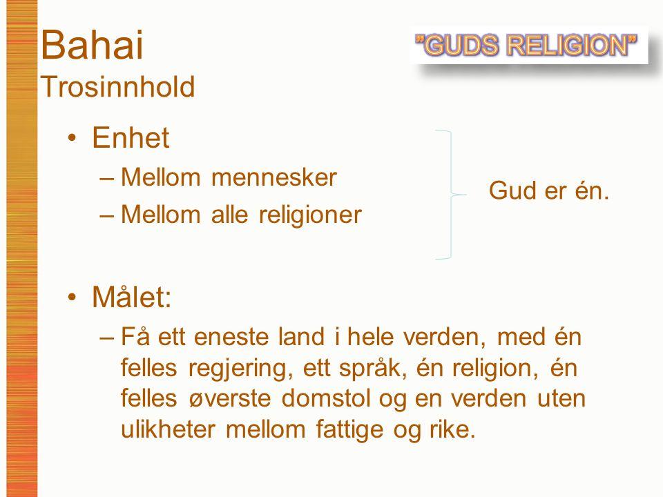Bahai Trosinnhold Enhet –Mellom mennesker –Mellom alle religioner Målet: –Få ett eneste land i hele verden, med én felles regjering, ett språk, én rel
