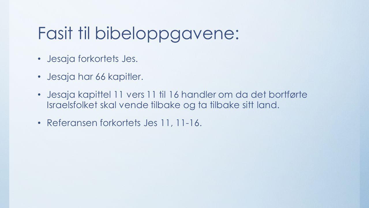 Fasit til bibeloppgavene: Jesaja forkortets Jes. Jesaja har 66 kapitler.