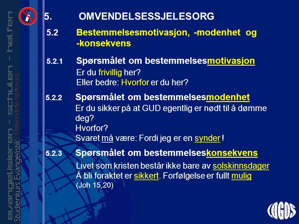 5.2.1 Spørsmålet om bestemmelsesmotivasjon Er du frivillig her.