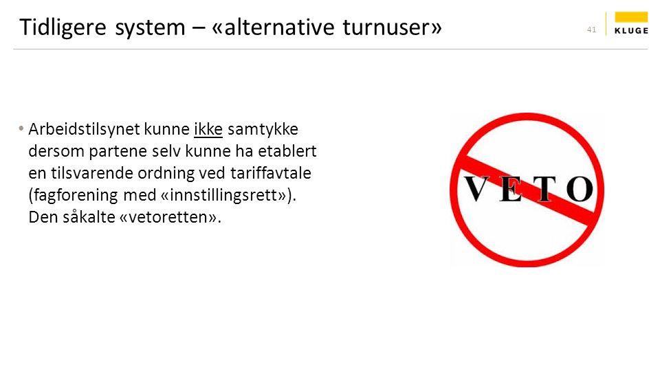 Tidligere system – «alternative turnuser» Arbeidstilsynet kunne ikke samtykke dersom partene selv kunne ha etablert en tilsvarende ordning ved tariffavtale (fagforening med «innstillingsrett»).