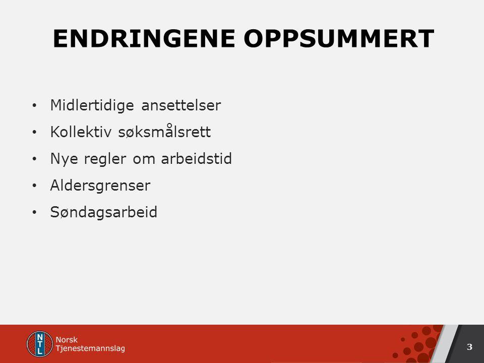 ENDRINGENE OPPSUMMERT Midlertidige ansettelser Kollektiv søksmålsrett Nye regler om arbeidstid Aldersgrenser Søndagsarbeid 3