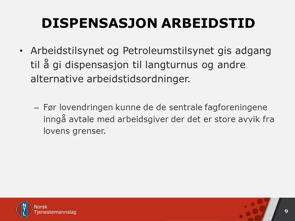 DISPENSASJON ARBEIDSTID Arbeidstilsynet og Petroleumstilsynet gis adgang til å gi dispensasjon til langturnus og andre alternative arbeidstidsordninger.