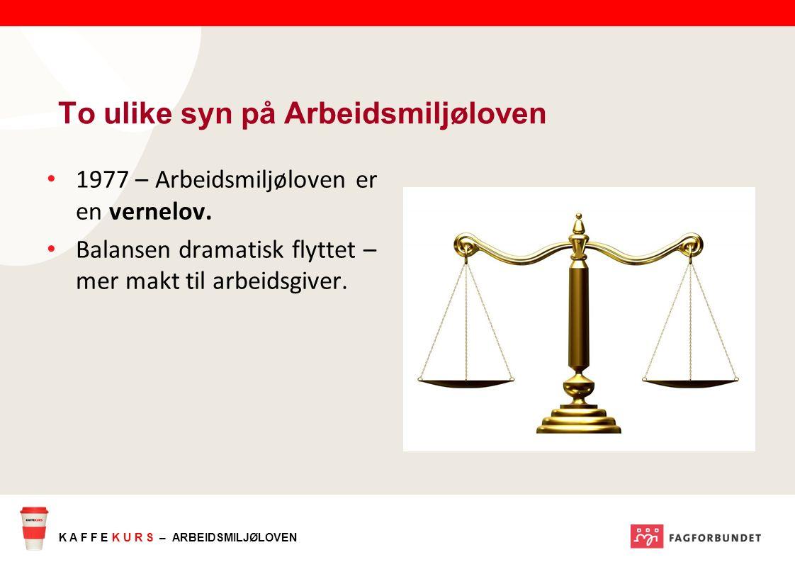 K A F F E K U R S – ARBEIDSMILJØLOVEN 1977 – Arbeidsmiljøloven er en vernelov.