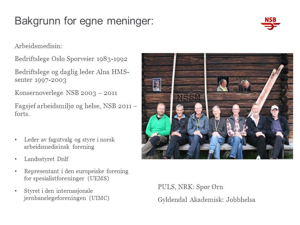 Bakgrunn for egne meninger: Arbeidsmedisin: Bedriftslege Oslo Sporveier 1983-1992 Bedriftslege og daglig leder Alna HMS- senter 1997-2003 Konsernoverlege NSB 2003 – 2011 Fagsjef arbeidsmiljø og helse, NSB 2011 – forts.