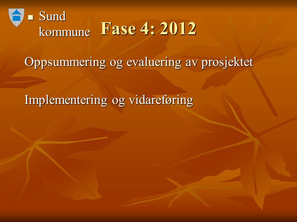 Sund kommune Sund kommune Fase 4: 2012 Oppsummering og evaluering av prosjektet Oppsummering og evaluering av prosjektet Implementering og vidareføring Implementering og vidareføring