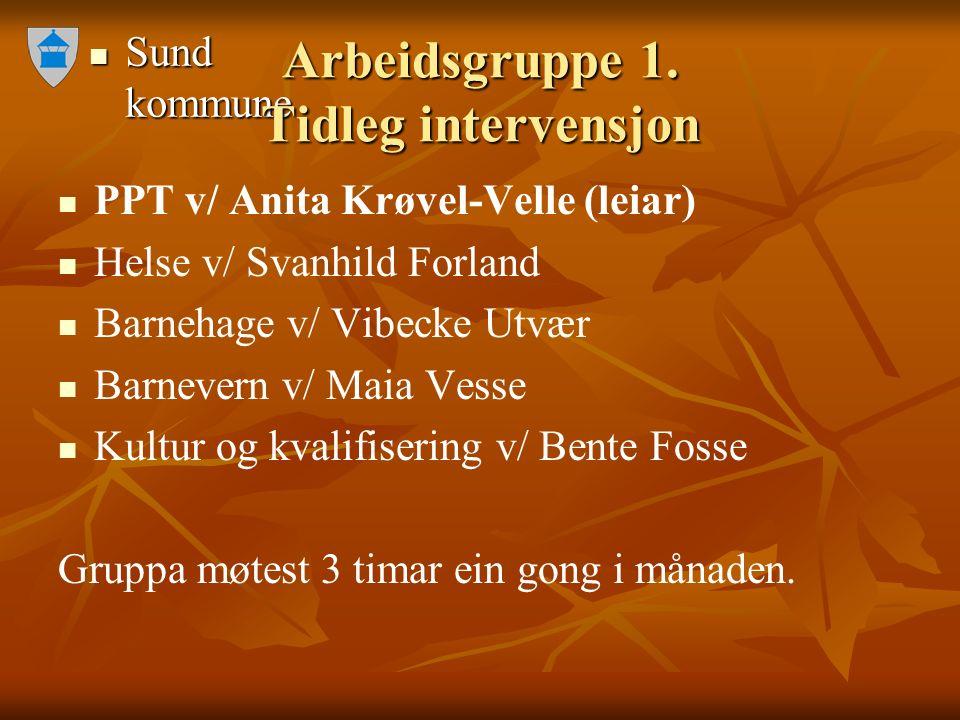 Sund kommune Sund kommune Arbeidsgruppe 1. Tidleg intervensjon PPT v/ Anita Krøvel-Velle (leiar) Helse v/ Svanhild Forland Barnehage v/ Vibecke Utvær