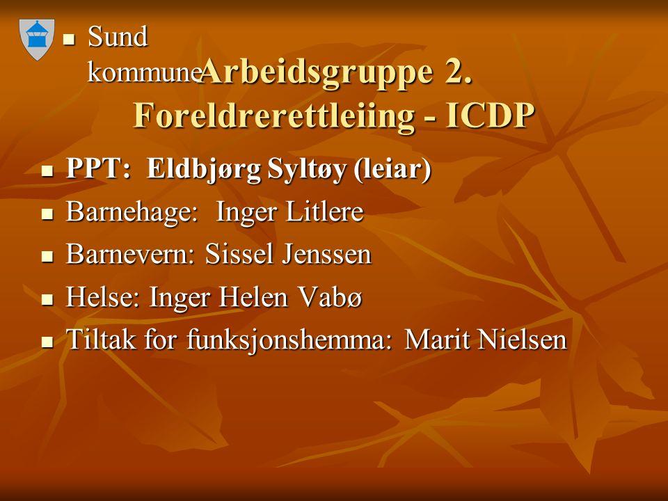 Sund kommune Sund kommune Arbeidsgruppe 2. Foreldrerettleiing - ICDP PPT: Eldbjørg Syltøy (leiar) PPT: Eldbjørg Syltøy (leiar) Barnehage: Inger Litler