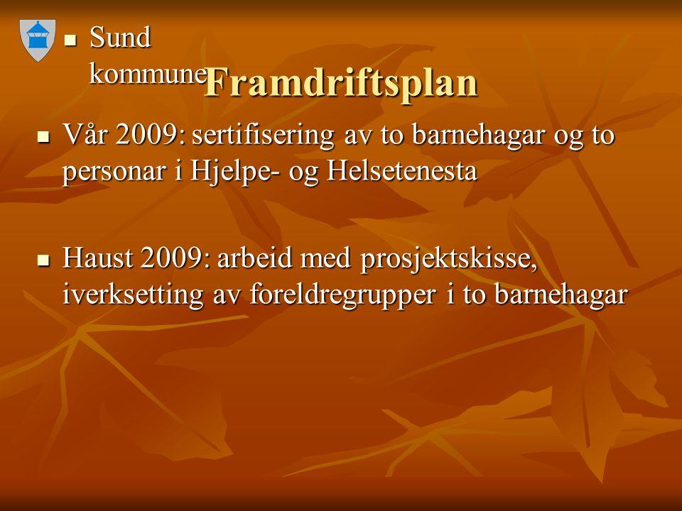 Sund kommune Sund kommune Framdriftsplan Vår 2009: sertifisering av to barnehagar og to personar i Hjelpe- og Helsetenesta Vår 2009: sertifisering av