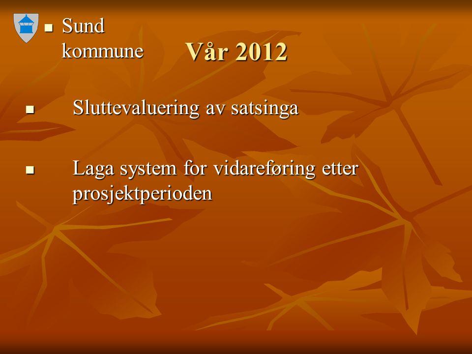 Sund kommune Sund kommune Vår 2012 Sluttevaluering av satsinga Sluttevaluering av satsinga Laga system for vidareføring etter prosjektperioden Laga sy