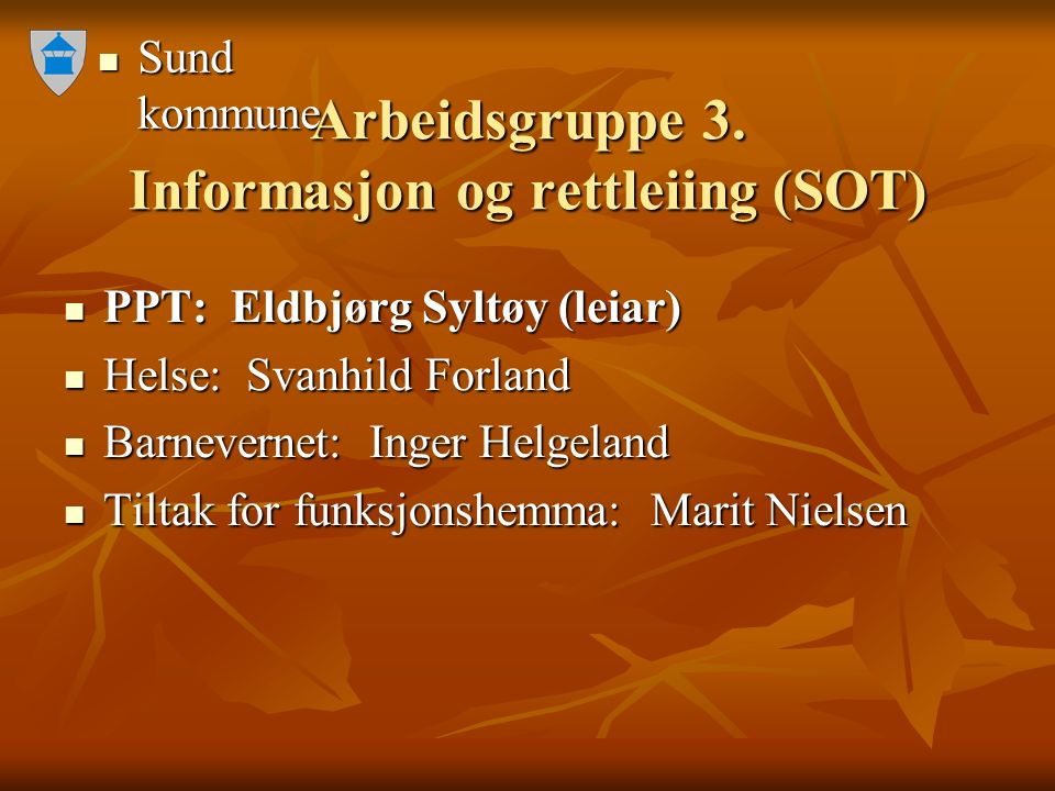 Sund kommune Sund kommune Arbeidsgruppe 3. Informasjon og rettleiing (SOT) PPT: Eldbjørg Syltøy (leiar) PPT: Eldbjørg Syltøy (leiar) Helse: Svanhild F