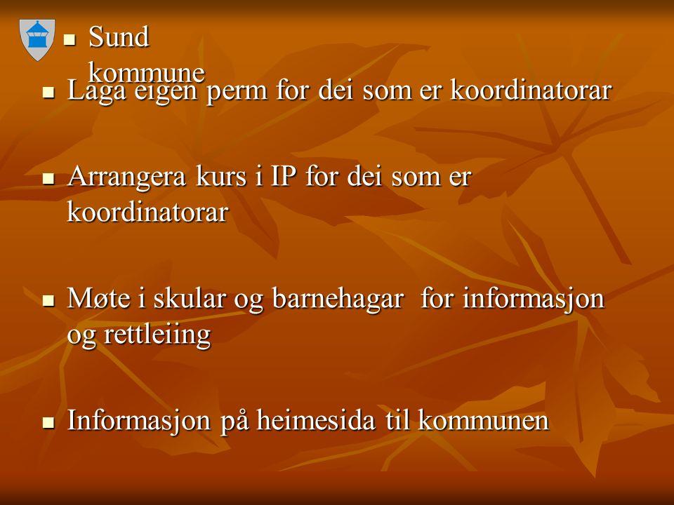 Sund kommune Sund kommune Laga eigen perm for dei som er koordinatorar Laga eigen perm for dei som er koordinatorar Arrangera kurs i IP for dei som er
