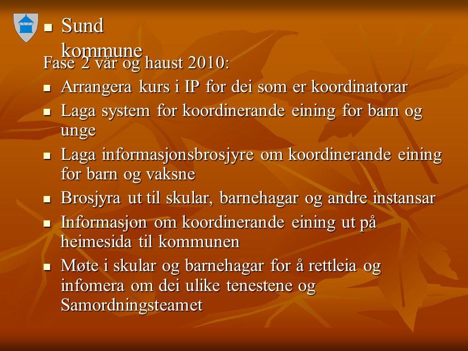 Sund kommune Sund kommune Fase 2 vår og haust 2010: Arrangera kurs i IP for dei som er koordinatorar Arrangera kurs i IP for dei som er koordinatorar
