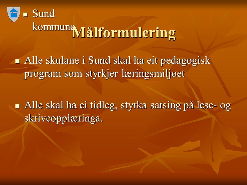 Sund kommune Sund kommune Målformulering Alle skulane i Sund skal ha eit pedagogisk program som styrkjer læringsmiljøet Alle skulane i Sund skal ha ei