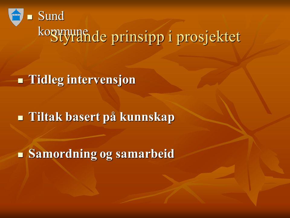 Sund kommune Sund kommune Styrande prinsipp i prosjektet Tidleg intervensjon Tidleg intervensjon Tiltak basert på kunnskap Tiltak basert på kunnskap Samordning og samarbeid Samordning og samarbeid